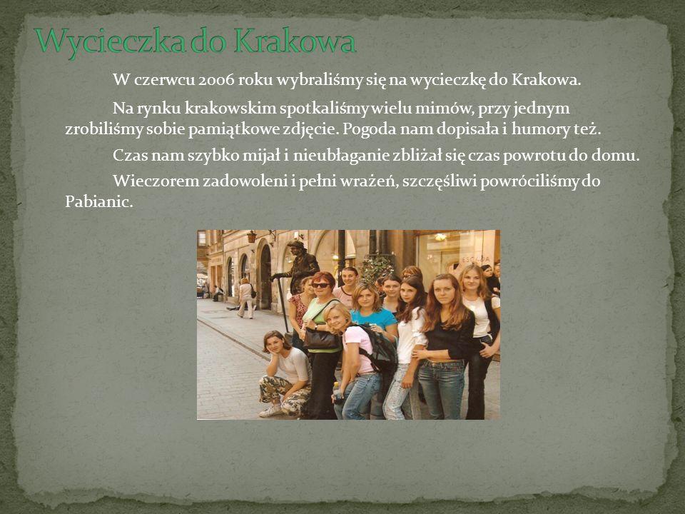 W czerwcu 2006 roku wybraliśmy się na wycieczkę do Krakowa.