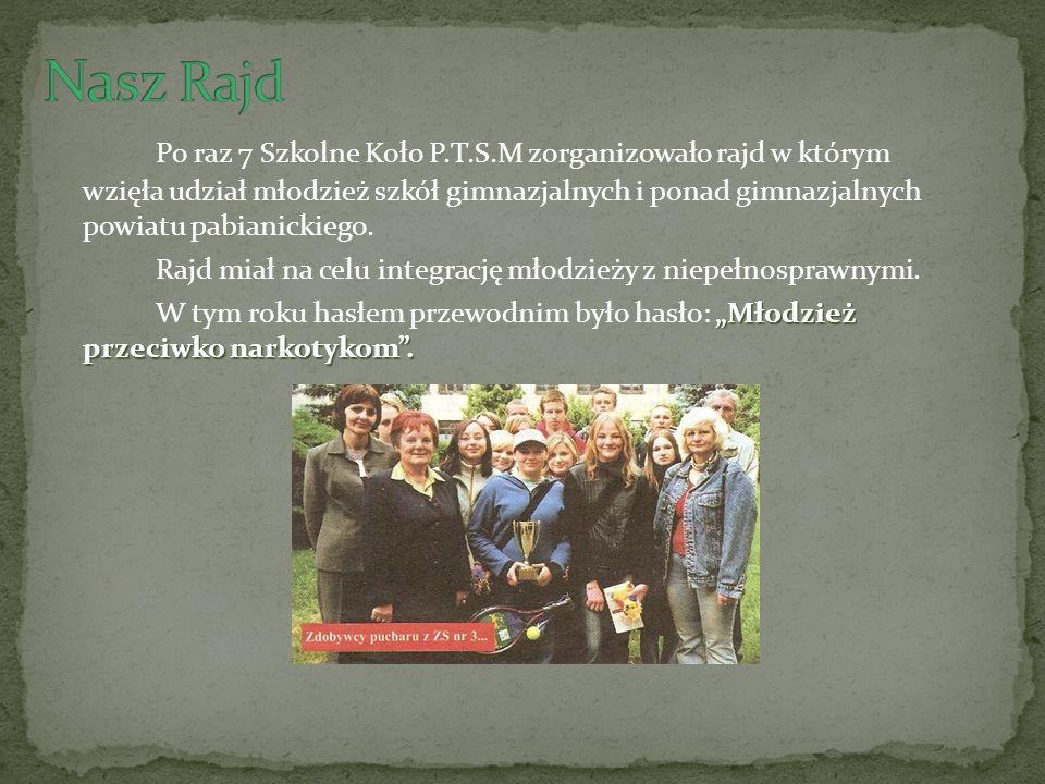 Po raz 7 Szkolne Koło P.T.S.M zorganizowało rajd w którym wzięła udział młodzież szkół gimnazjalnych i ponad gimnazjalnych powiatu pabianickiego.