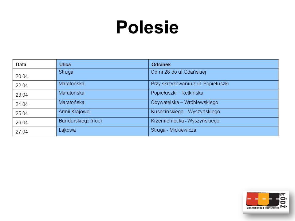 Polesie DataUlicaOdcinek 20.04 StrugaOd nr 28 do ul.Gdańskiej 22.04 MaratońskaPrzy skrzyżowaniu z ul.