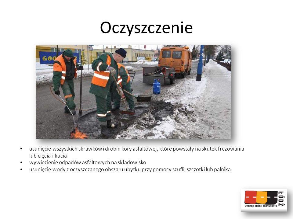 Oczyszczenie usunięcie wszystkich skrawków i drobin kory asfaltowej, które powstały na skutek frezowania lub cięcia i kucia wywiezienie odpadów asfalt
