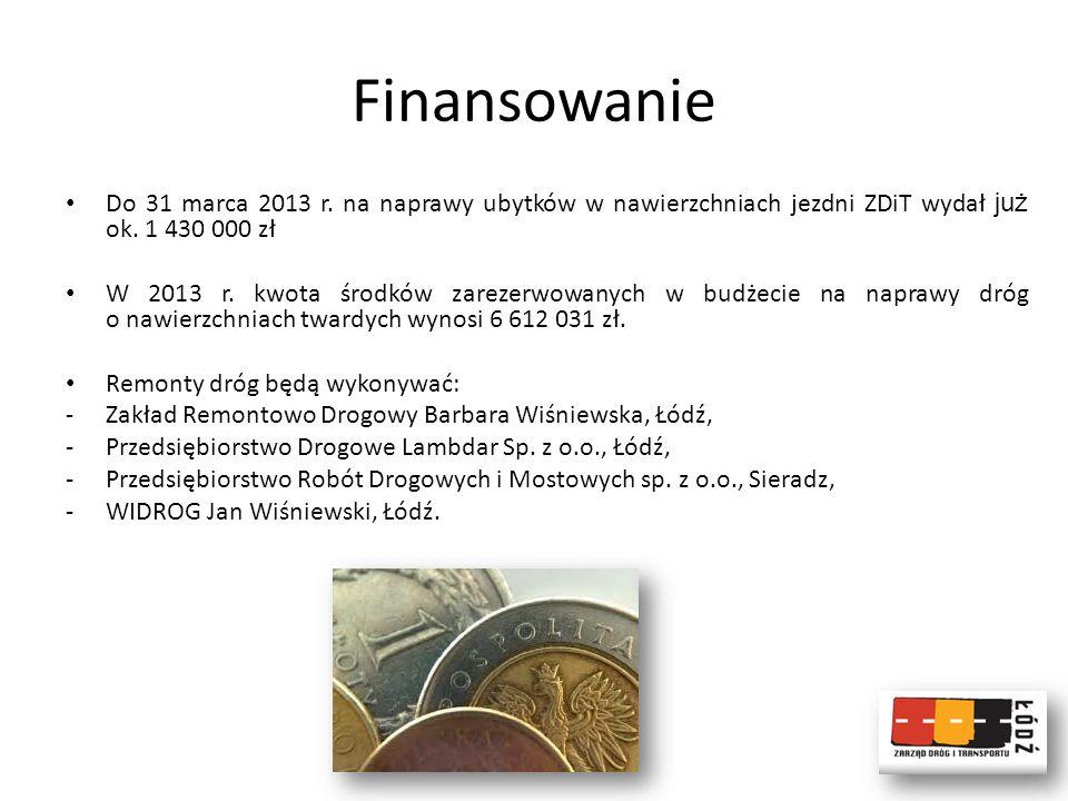 Finansowanie Do 31 marca 2013 r. na naprawy ubytków w nawierzchniach jezdni ZDiT wydał już ok. 1 430 000 zł W 2013 r. kwota środków zarezerwowanych w