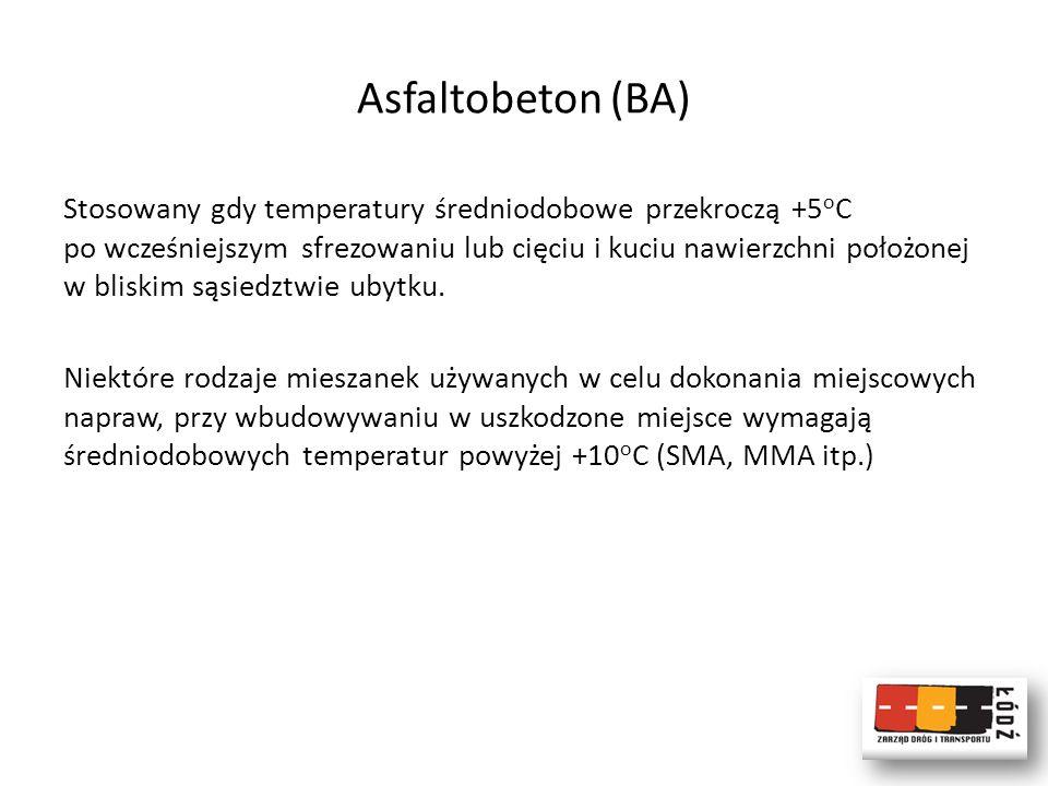 Asfaltobeton (BA) Stosowany gdy temperatury średniodobowe przekroczą +5 o C po wcześniejszym sfrezowaniu lub cięciu i kuciu nawierzchni położonej w bl