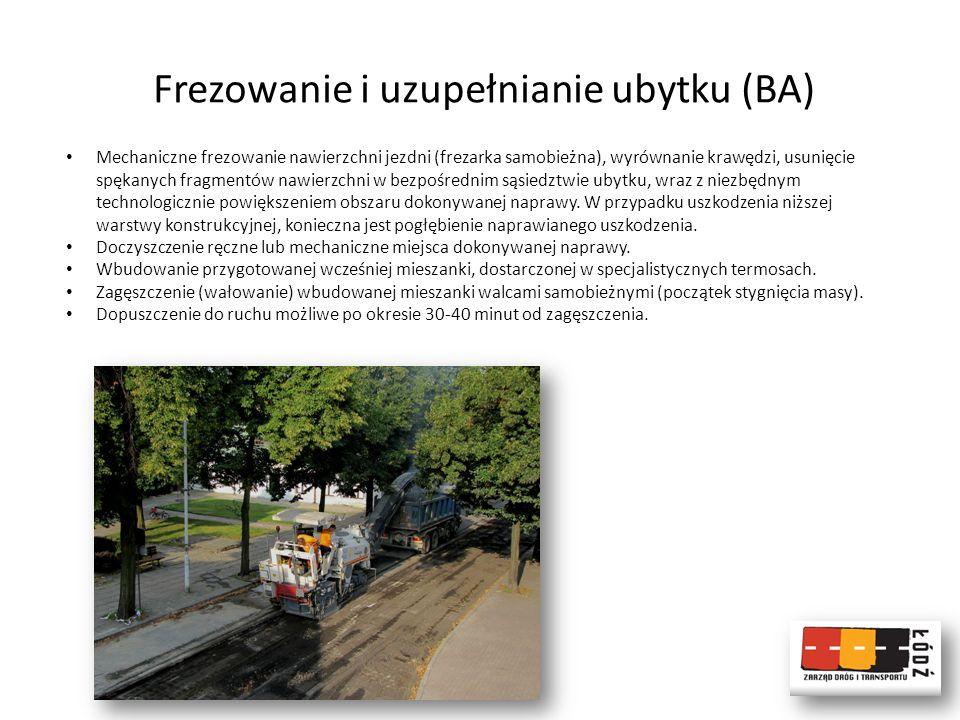 Frezowanie i uzupełnianie ubytku (BA) Mechaniczne frezowanie nawierzchni jezdni (frezarka samobieżna), wyrównanie krawędzi, usunięcie spękanych fragme