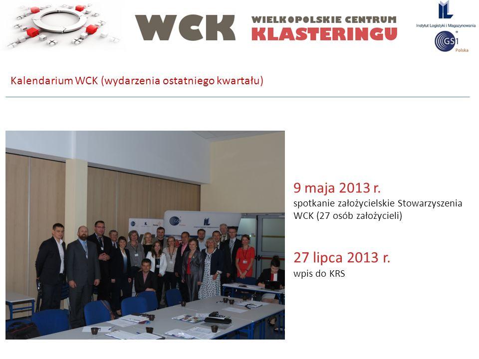 Kalendarium WCK (wydarzenia ostatniego kwartału) 9 maja 2013 r. spotkanie założycielskie Stowarzyszenia WCK (27 osób założycieli) 27 lipca 2013 r. wpi