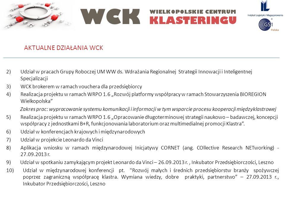 2)Udział w pracach Grupy Roboczej UM WW ds. Wdrażania Regionalnej Strategii Innowacji i Inteligentnej Specjalizacji 3)WCK brokerem w ramach vouchera d