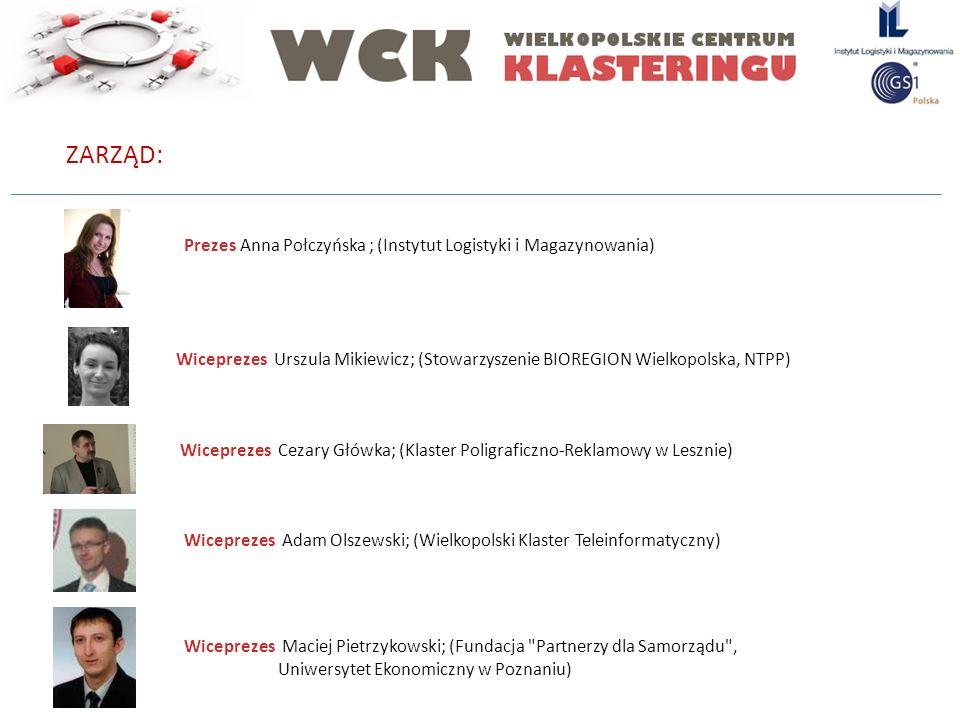 ZARZĄD: Prezes Anna Połczyńska ; (Instytut Logistyki i Magazynowania) Wiceprezes Urszula Mikiewicz; (Stowarzyszenie BIOREGION Wielkopolska, NTPP) Wice
