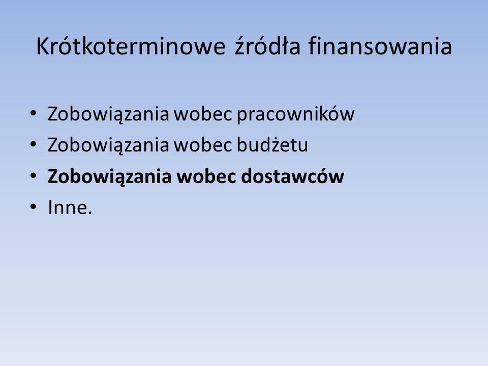 Krótkoterminowe źródła finansowania Zobowiązania wobec pracowników Zobowiązania wobec budżetu Zobowiązania wobec dostawców Inne.