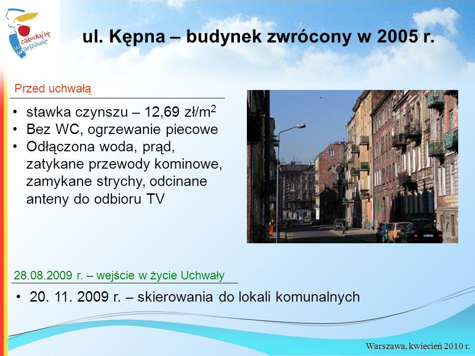 Warszawa, kwiecień 2010 r. stawka czynszu – 12,69 zł/m 2 Bez WC, ogrzewanie piecowe Odłączona woda, prąd, zatykane przewody kominowe, zamykane strychy
