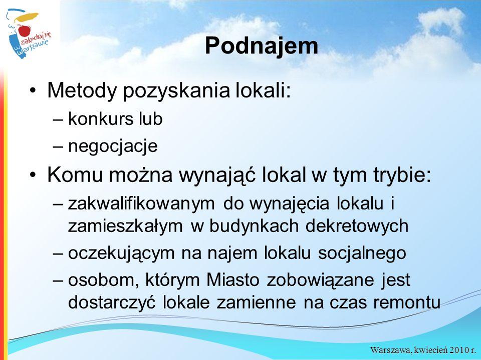 Warszawa, kwiecień 2010 r. Podnajem Metody pozyskania lokali: –konkurs lub –negocjacje Komu można wynająć lokal w tym trybie: –zakwalifikowanym do wyn