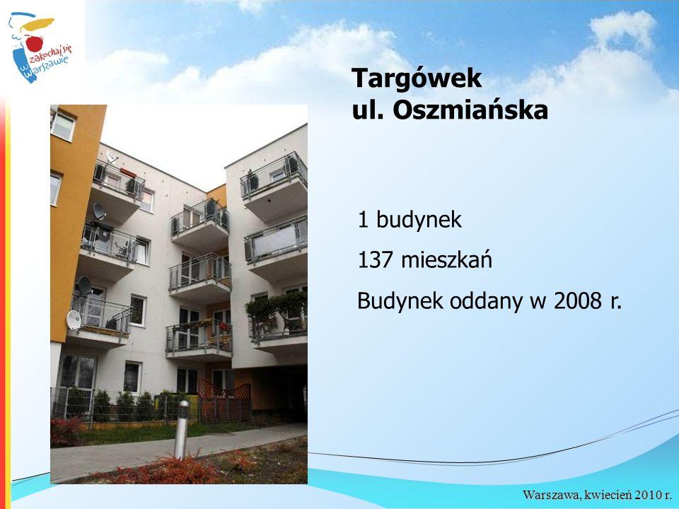 Warszawa, kwiecień 2010 r. Targówek ul. Oszmiańska 1 budynek 137 mieszkań Budynek oddany w 2008 r.
