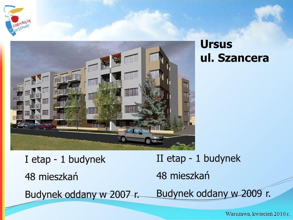 Warszawa, kwiecień 2010 r. Ursus ul. Szancera I etap - 1 budynek 48 mieszkań Budynek oddany w 2007 r. II etap - 1 budynek 48 mieszkań Budynek oddany w