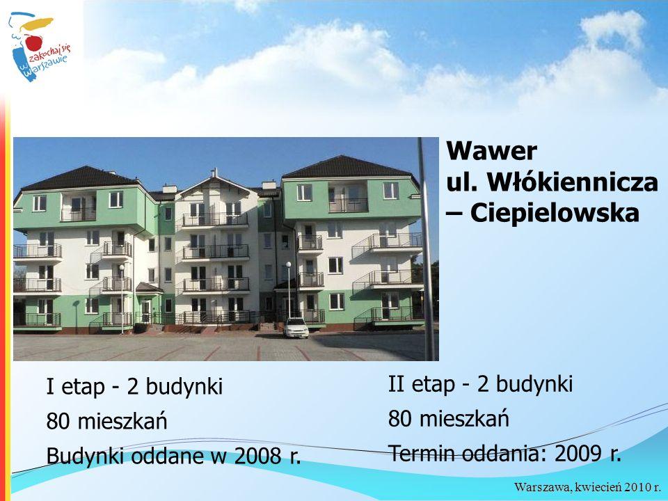 Warszawa, kwiecień 2010 r. Wawer ul. Włókiennicza – Ciepielowska I etap - 2 budynki 80 mieszkań Budynki oddane w 2008 r. II etap - 2 budynki 80 mieszk