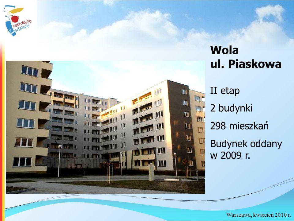 Warszawa, kwiecień 2010 r. II etap 2 budynki 298 mieszkań Budynek oddany w 2009 r. Wola ul. Piaskowa