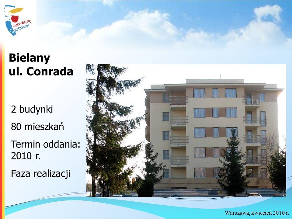 Warszawa, kwiecień 2010 r. Bielany ul. Conrada 2 budynki 80 mieszkań Termin oddania: 2010 r. Faza realizacji