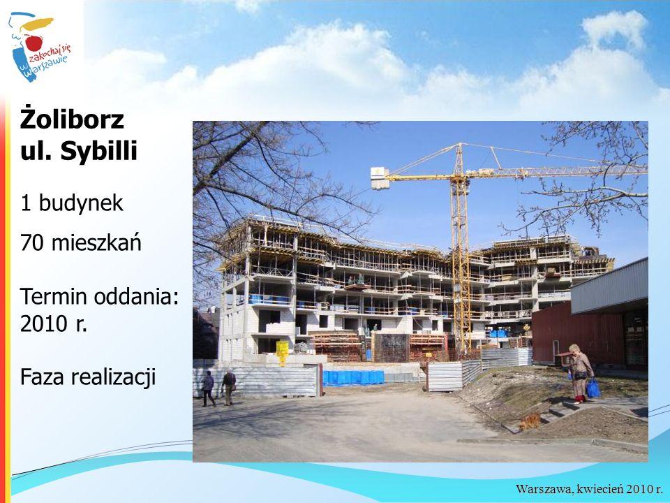 Warszawa, kwiecień 2010 r. Żoliborz ul. Sybilli 1 budynek 70 mieszkań Termin oddania: 2010 r. Faza realizacji