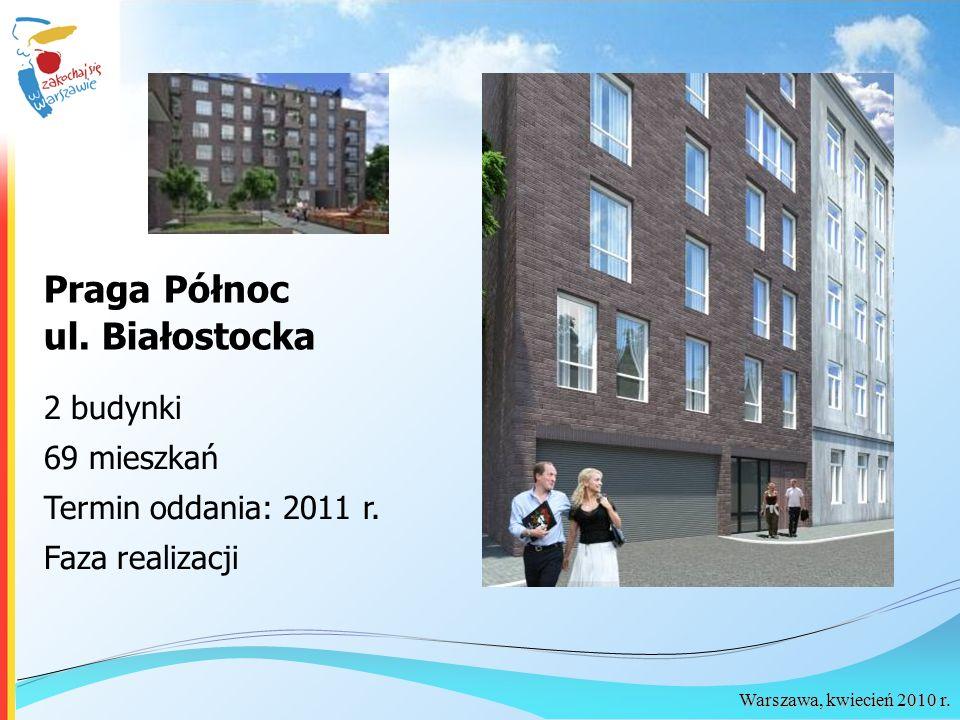 Warszawa, kwiecień 2010 r. Praga Północ ul. Białostocka 2 budynki 69 mieszkań Termin oddania: 2011 r. Faza realizacji