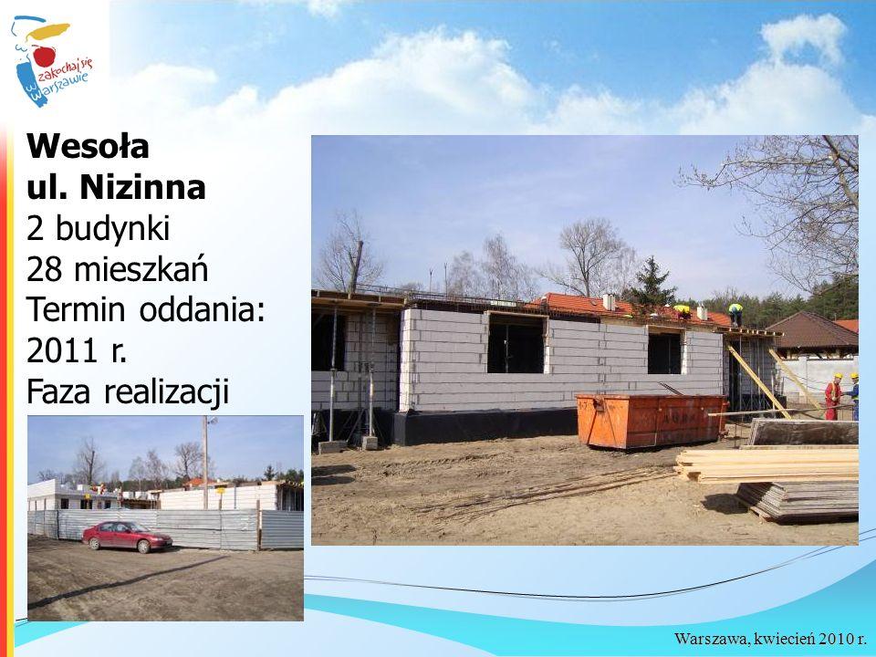 Warszawa, kwiecień 2010 r. Wesoła ul. Nizinna 2 budynki 28 mieszkań Termin oddania: 2011 r. Faza realizacji