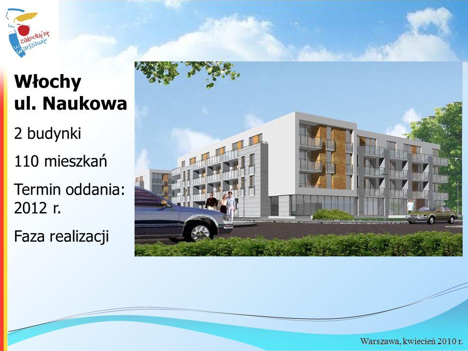 Warszawa, kwiecień 2010 r. 2 budynki 110 mieszkań Termin oddania: 2012 r. Faza realizacji Włochy ul. Naukowa