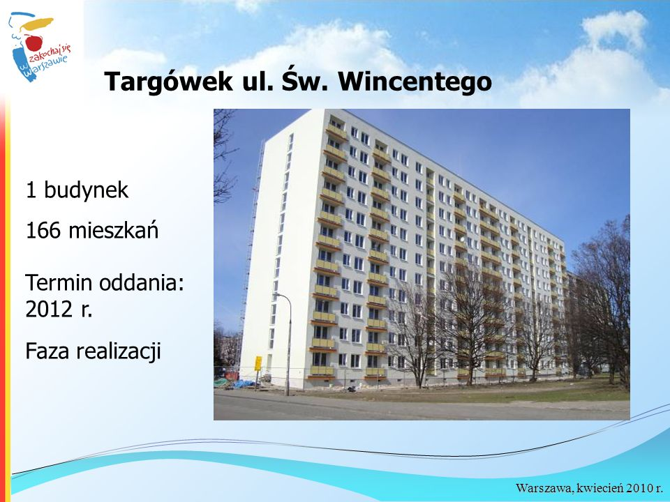 Warszawa, kwiecień 2010 r. Targówek ul. Św. Wincentego 1 budynek 166 mieszkań Termin oddania: 2012 r. Faza realizacji