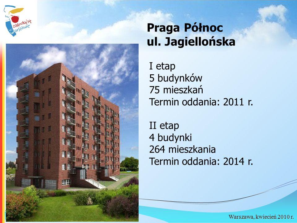 Warszawa, kwiecień 2010 r. Praga Północ ul. Jagiellońska I etap 5 budynków 75 mieszkań Termin oddania: 2011 r. II etap 4 budynki 264 mieszkania Termin