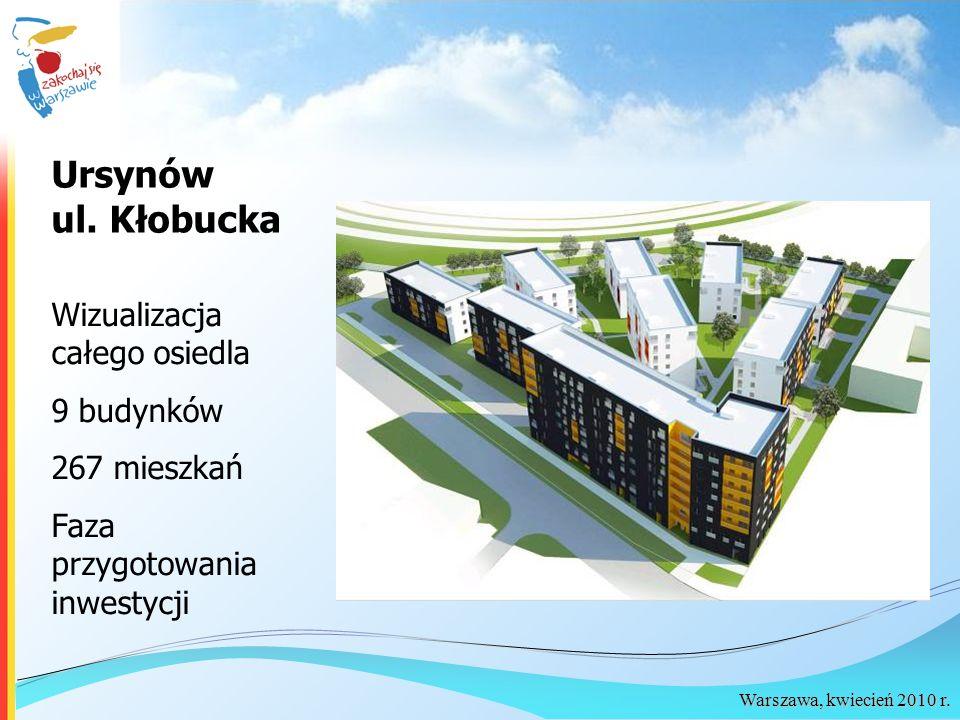 Warszawa, kwiecień 2010 r. Ursynów ul. Kłobucka Wizualizacja całego osiedla 9 budynków 267 mieszkań Faza przygotowania inwestycji