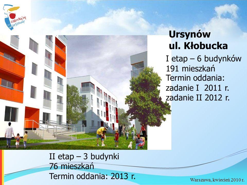 Warszawa, kwiecień 2010 r. Ursynów ul. Kłobucka I etap – 6 budynków 191 mieszkań Termin oddania: zadanie I 2011 r. zadanie II 2012 r. II etap – 3 budy