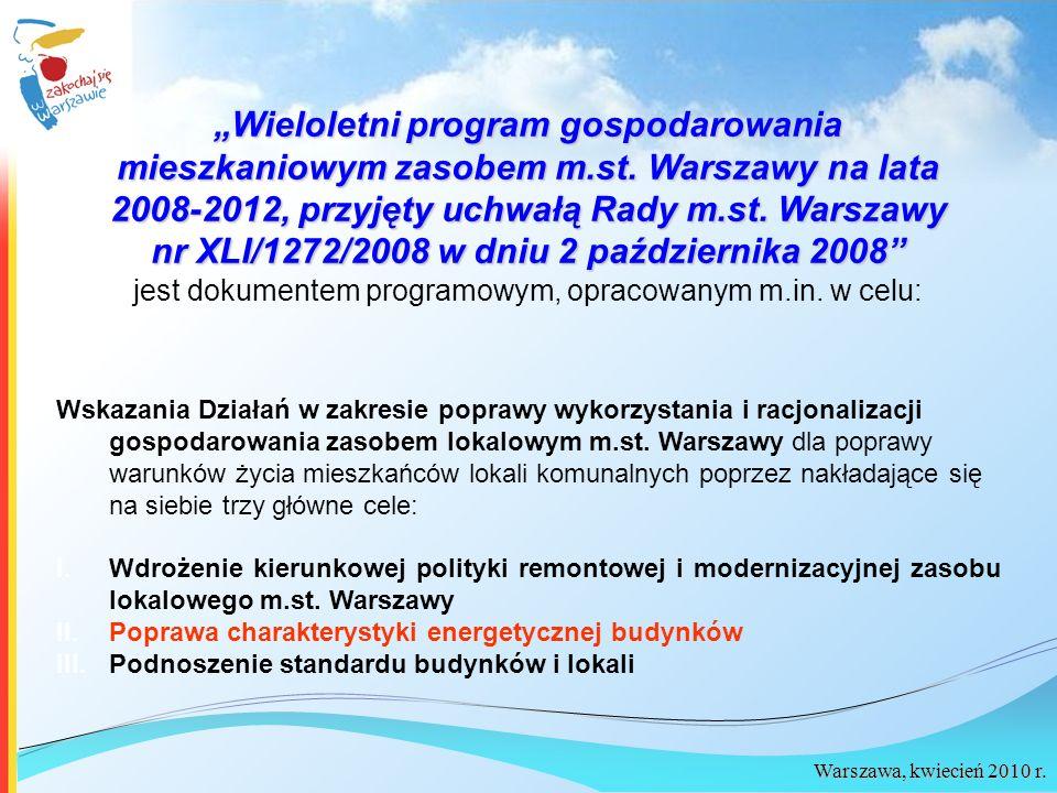 Warszawa, kwiecień 2010 r. Wieloletni program gospodarowania mieszkaniowym zasobem m.st. Warszawy na lata 2008-2012, przyjęty uchwałą Rady m.st. Warsz