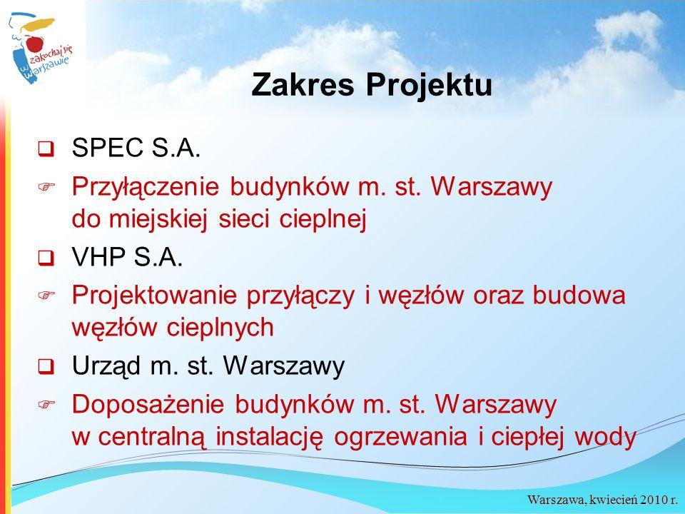 Warszawa, kwiecień 2010 r. Zakres Projektu SPEC S.A. Przyłączenie budynków m. st. Warszawy do miejskiej sieci cieplnej VHP S.A. Projektowanie przyłącz