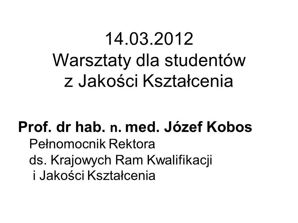 14.03.2012 Warsztaty dla studentów z Jakości Kształcenia Prof.