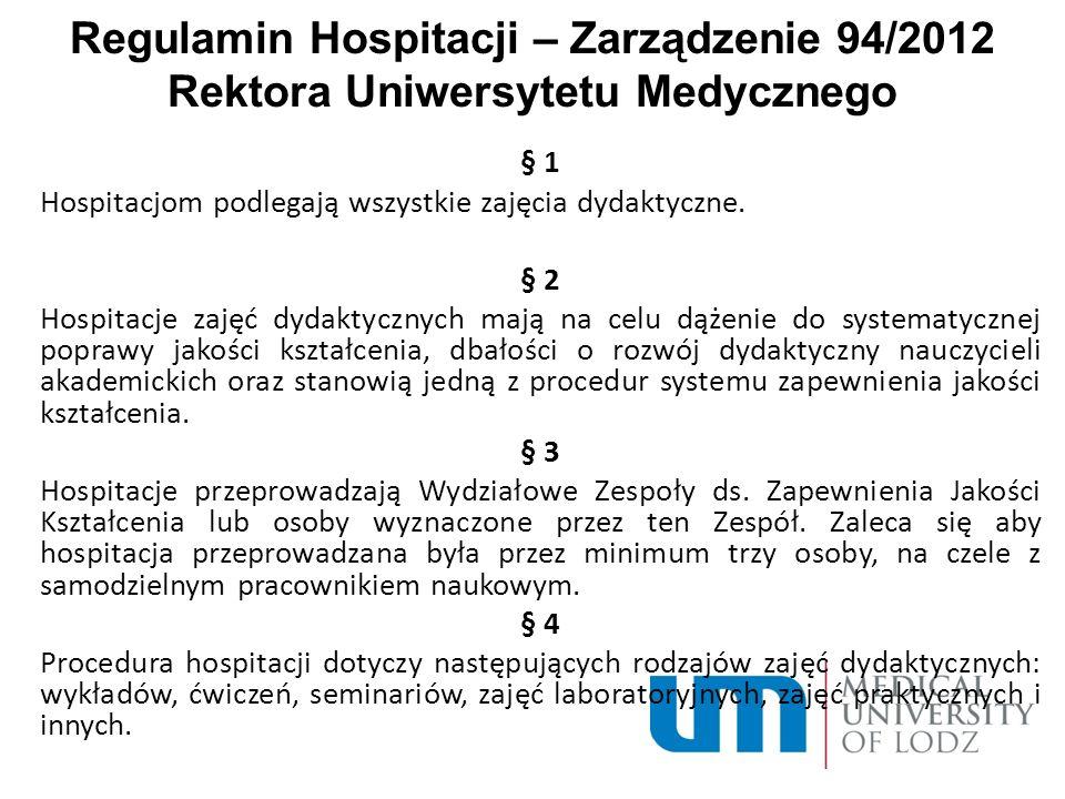 Regulamin Hospitacji – Zarządzenie 94/2012 Rektora Uniwersytetu Medycznego § 1 Hospitacjom podlegają wszystkie zajęcia dydaktyczne. § 2 Hospitacje zaj