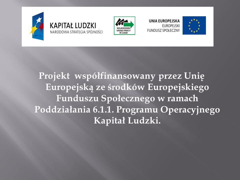 Projekt współfinansowany przez Unię Europejską ze środków Europejskiego Funduszu Społecznego w ramach Poddziałania 6.1.1. Programu Operacyjnego Kapita