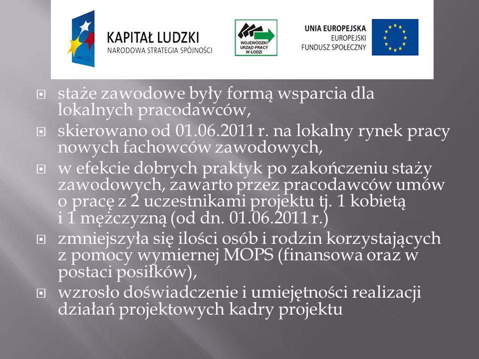 staże zawodowe były formą wsparcia dla lokalnych pracodawców, skierowano od 01.06.2011 r. na lokalny rynek pracy nowych fachowców zawodowych, w efekci