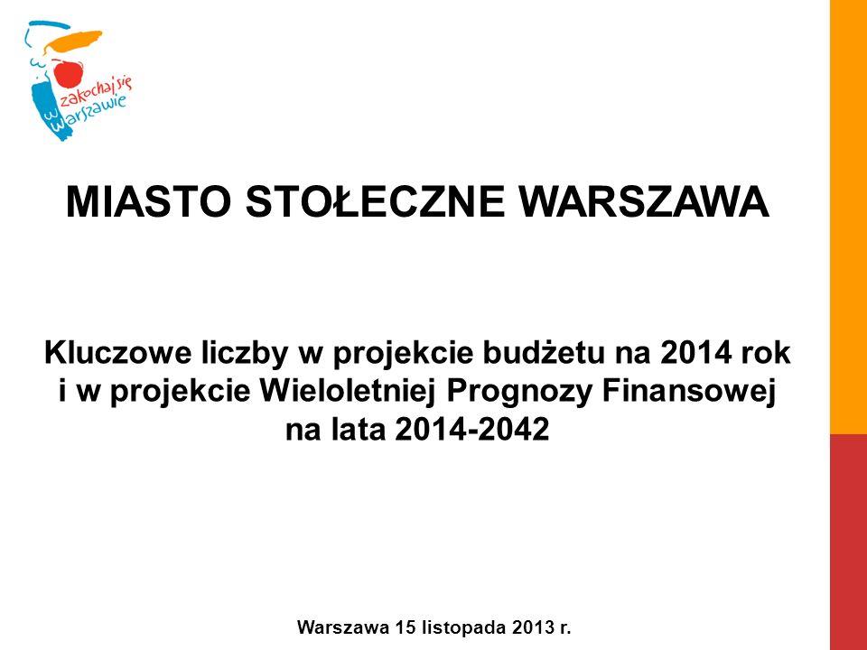 Kluczowe liczby w projekcie budżetu na 2014 rok i w projekcie Wieloletniej Prognozy Finansowej na lata 2014-2042 Warszawa 15 listopada 2013 r.