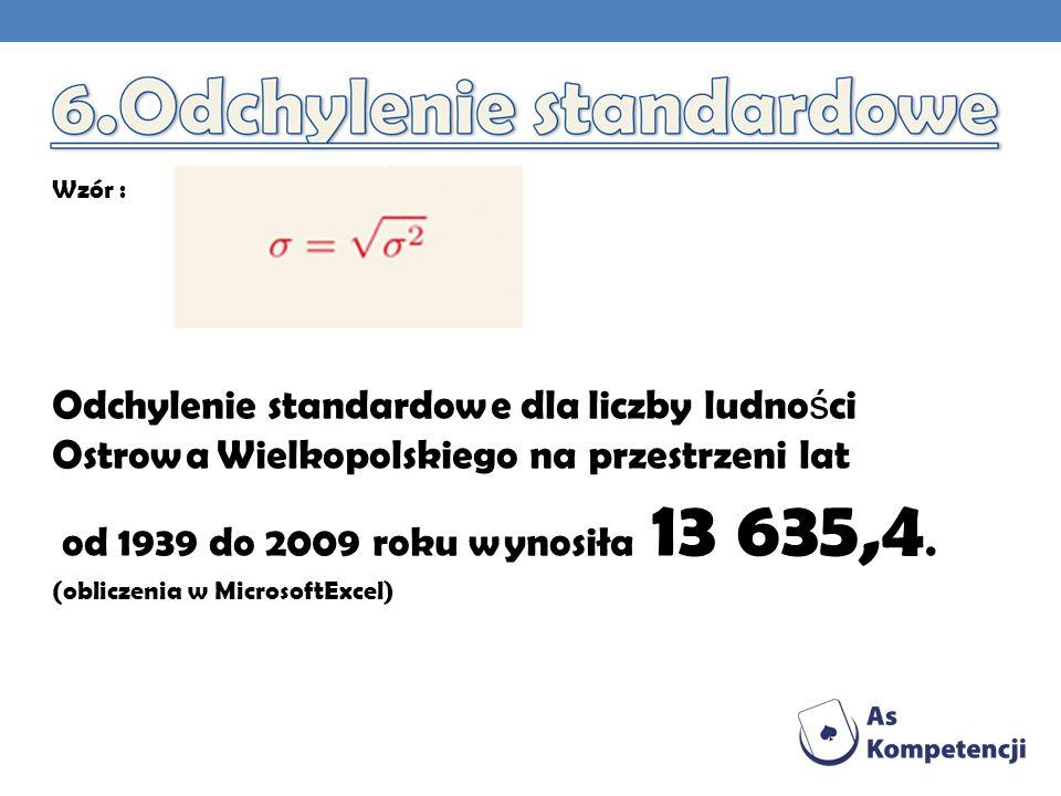 Odchylenie standardowe dla liczby ludno ś ci Ostrowa Wielkopolskiego na przestrzeni lat od 1939 do 2009 roku wynosiła 13 635,4.