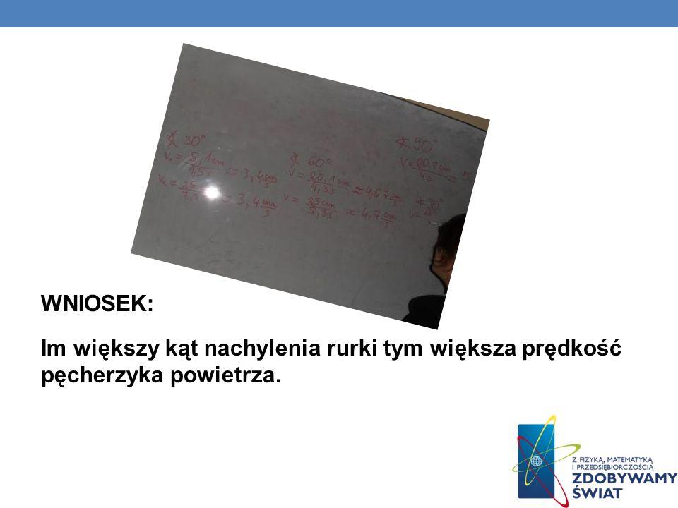 1. Badanie ruchu pęcherzyka powietrza w rurce z cieczą Celem symulacji było stwierdzenie jaka jest prędkość pęcherzyka powietrza jeżeli rurka jest pod