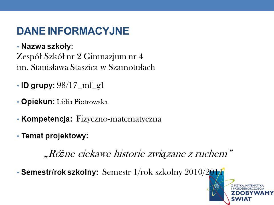DANE INFORMACYJNE Nazwa szkoły: Zespó ł Szkó ł nr 2 Gimnazjum nr 4 im.
