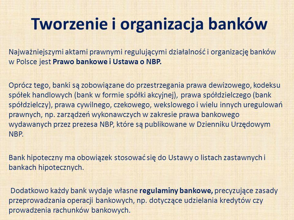 Tworzenie i organizacja banków Najważniejszymi aktami prawnymi regulującymi działalność i organizację banków w Polsce jest Prawo bankowe i Ustawa o NB