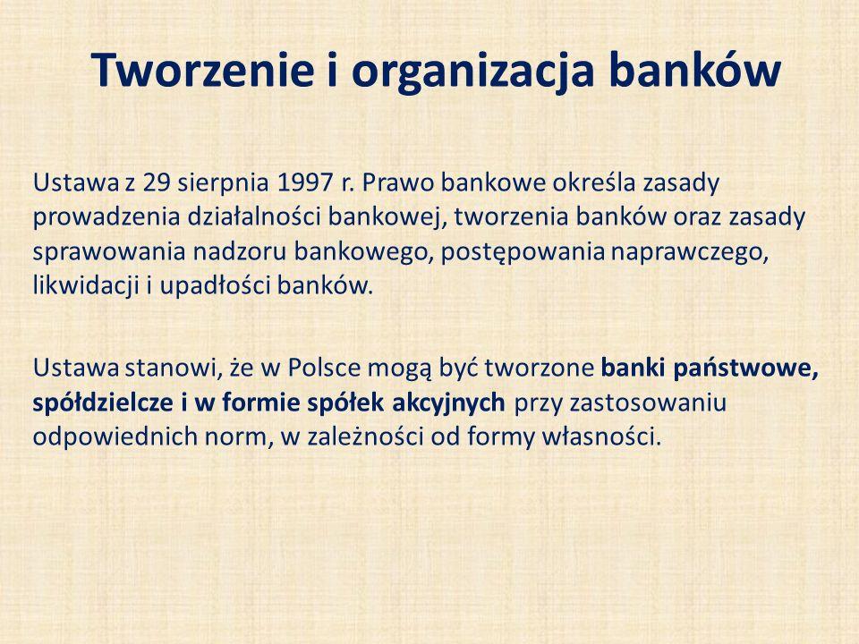 Tworzenie i organizacja banków Ustawa z 29 sierpnia 1997 r. Prawo bankowe określa zasady prowadzenia działalności bankowej, tworzenia banków oraz zasa