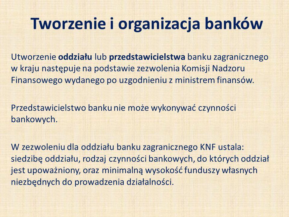 Tworzenie i organizacja banków Utworzenie oddziału lub przedstawicielstwa banku zagranicznego w kraju następuje na podstawie zezwolenia Komisji Nadzor