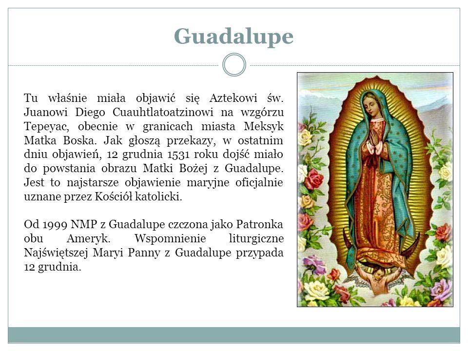 Guadalupe Tu właśnie miała objawić się Aztekowi św. Juanowi Diego Cuauhtlatoatzinowi na wzgórzu Tepeyac, obecnie w granicach miasta Meksyk Matka Boska