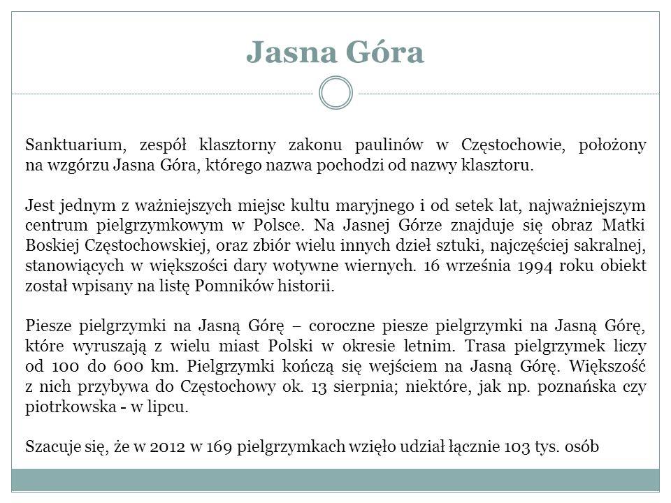 Jasna Góra Sanktuarium, zespół klasztorny zakonu paulinów w Częstochowie, położony na wzgórzu Jasna Góra, którego nazwa pochodzi od nazwy klasztoru. J