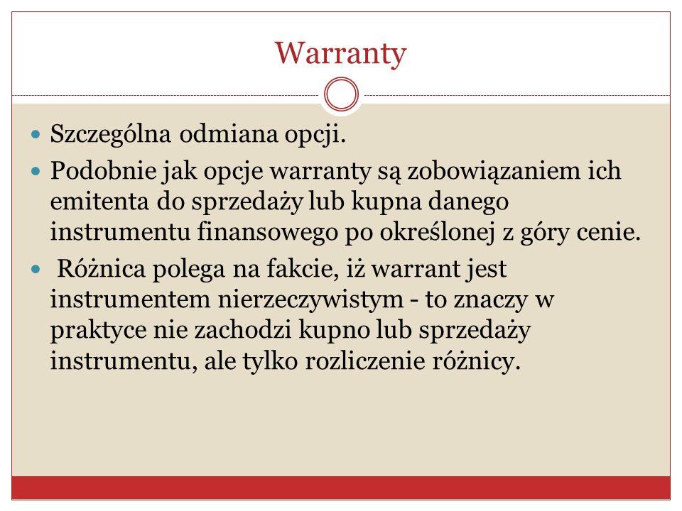 Opcje Są możliwością (prawem) przeprowadzenia transakcji w przyszłości na warunkach już dziś określonych.