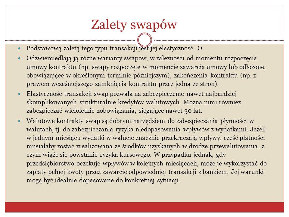 Przykład transakcji swap c) Zawarcie swapa zamienia płatności w dolarach na płatności w euro.