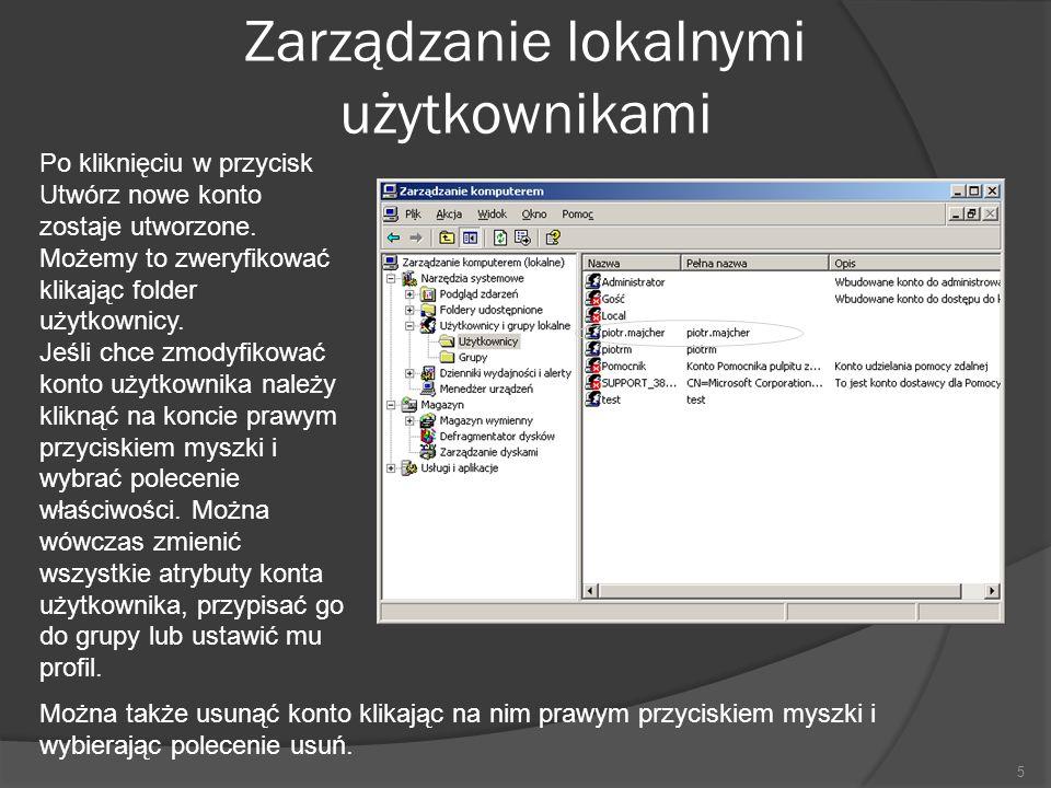 Zarządzanie lokalnymi użytkownikami 5 Po kliknięciu w przycisk Utwórz nowe konto zostaje utworzone.