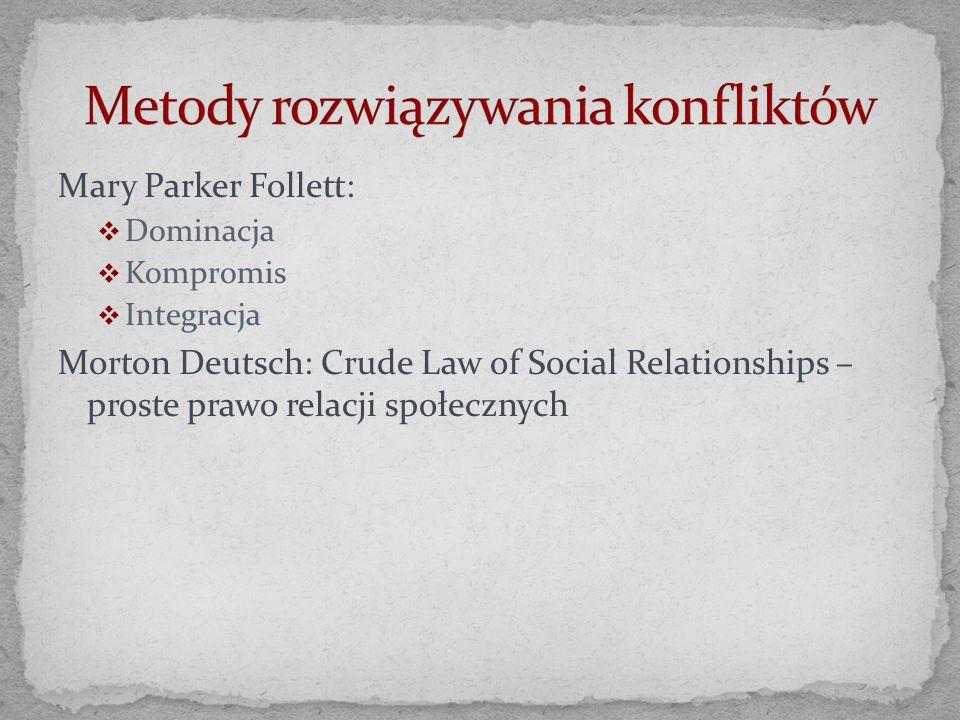 Mary Parker Follett: Dominacja Kompromis Integracja Morton Deutsch: Crude Law of Social Relationships – proste prawo relacji społecznych