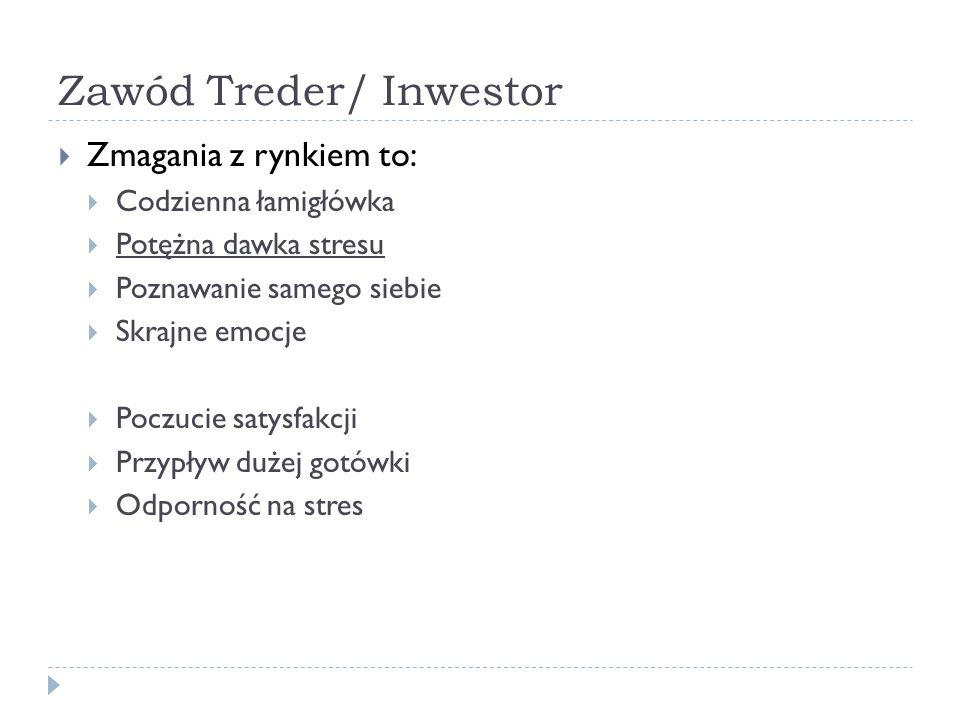 Zawód Treder/ Inwestor Zmagania z rynkiem to: Codzienna łamigłówka Potężna dawka stresu Poznawanie samego siebie Skrajne emocje Poczucie satysfakcji P