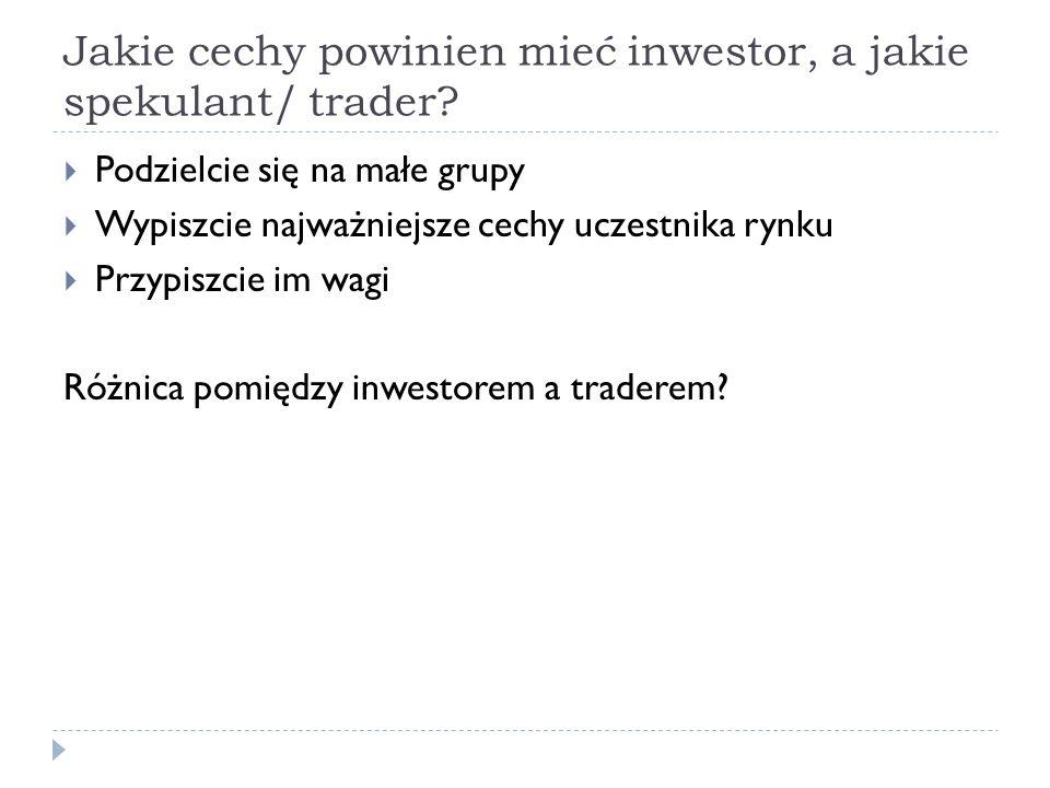 Jakie cechy powinien mieć inwestor, a jakie spekulant/ trader? Podzielcie się na małe grupy Wypiszcie najważniejsze cechy uczestnika rynku Przypiszcie