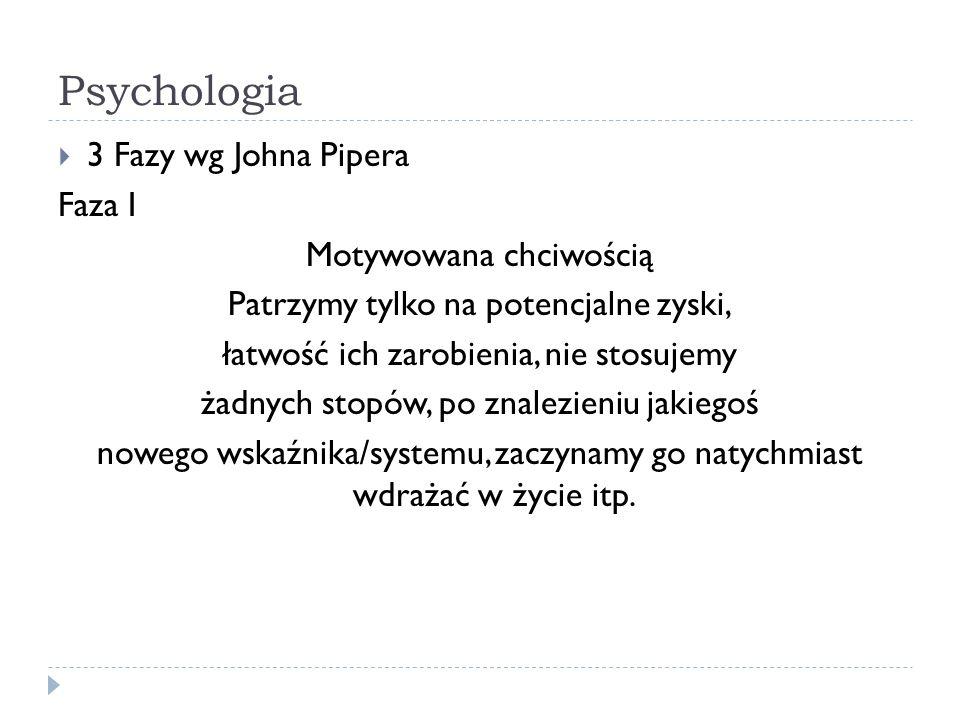 Psychologia 3 Fazy wg Johna Pipera Faza I Motywowana chciwością Patrzymy tylko na potencjalne zyski, łatwość ich zarobienia, nie stosujemy żadnych sto
