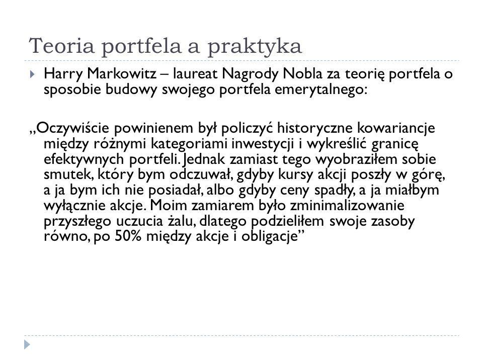 Teoria portfela a praktyka Harry Markowitz – laureat Nagrody Nobla za teorię portfela o sposobie budowy swojego portfela emerytalnego: Oczywiście powi