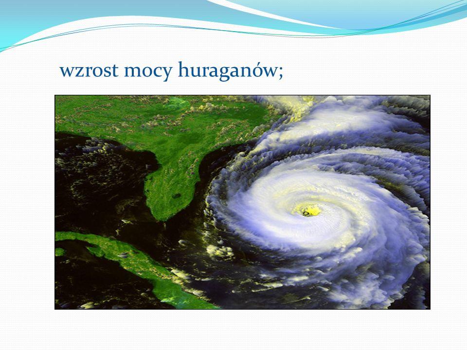 wzrost mocy huraganów;